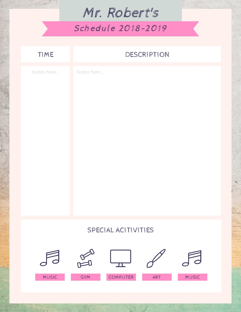 Teacher for Students - Schedule Template