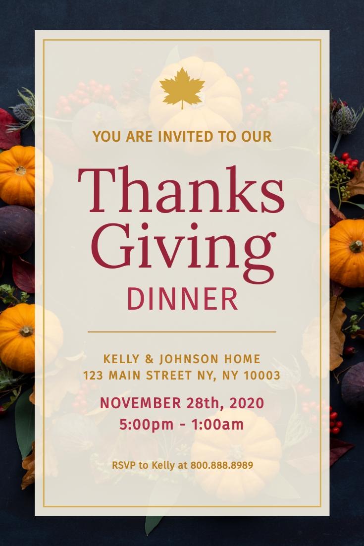 Thanksgiving Dinner Invitation Pinterest Post Template