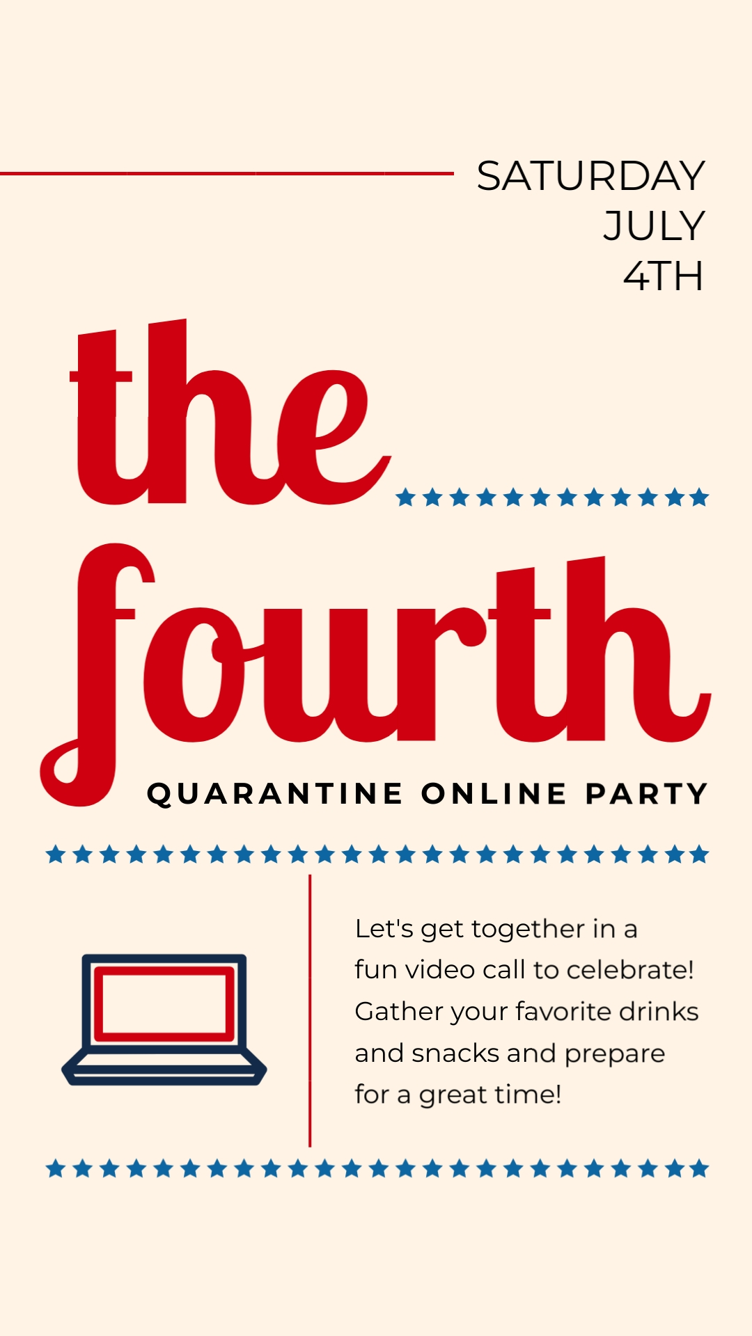 The Fourth Online Party Animated Vertical Template