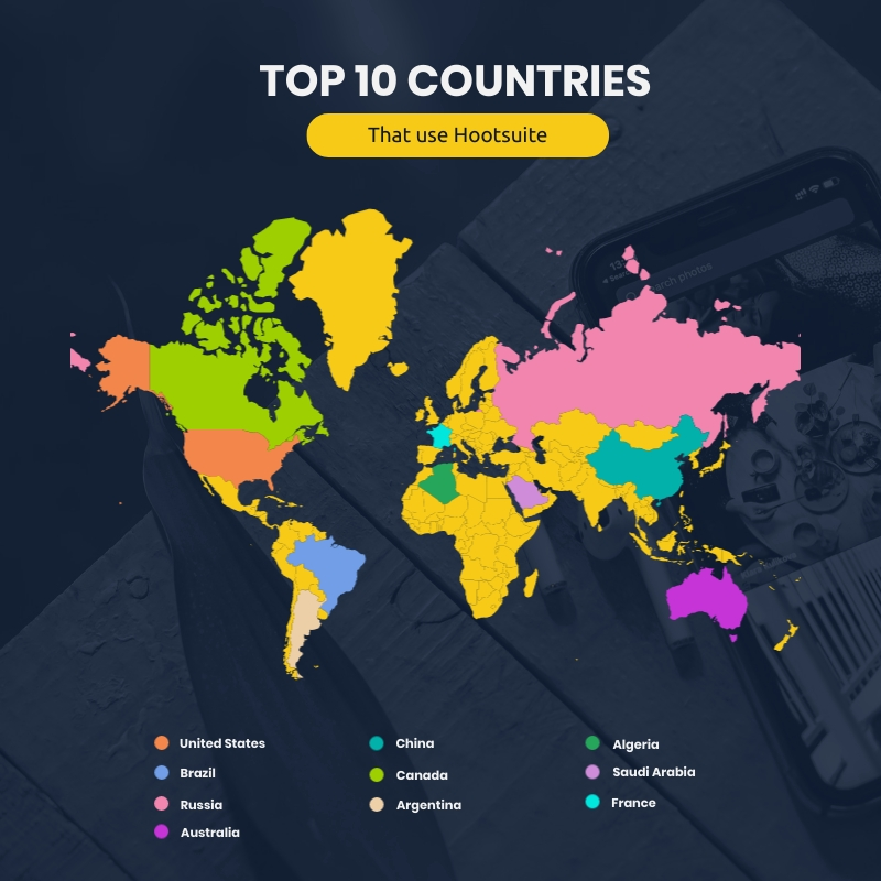 Top 10 Countries Map Square Template