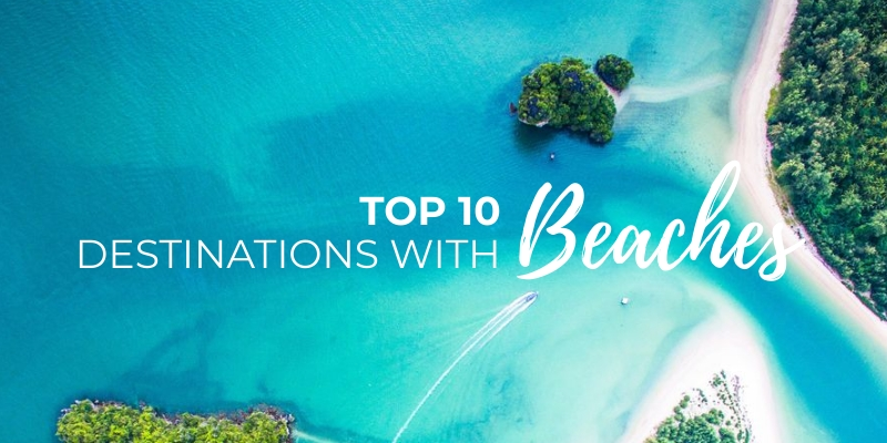 Top 10 Travel Destinations With Beaches Blog Graphic Header Template
