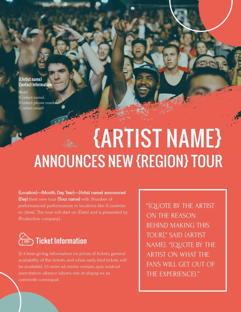 Tour Announcement - Press Release Template