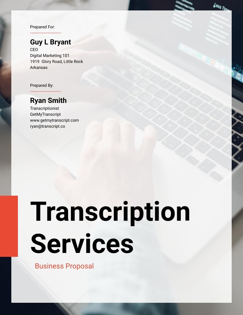Transcription Services - Proposal Template