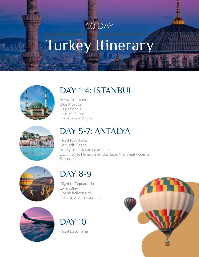 Turkey Travel Itinerary Template