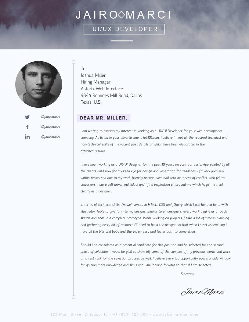 Web Developer Cover Letter from assets.visme.co