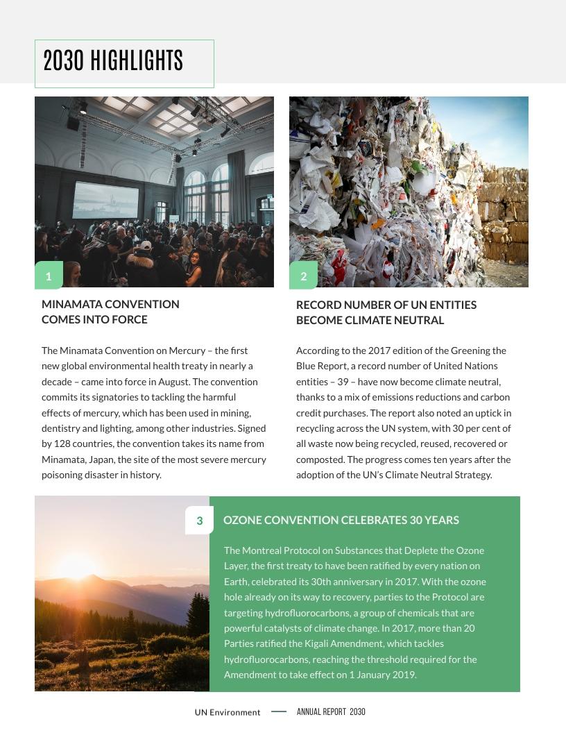 Un Environment Annual Report Template Visme