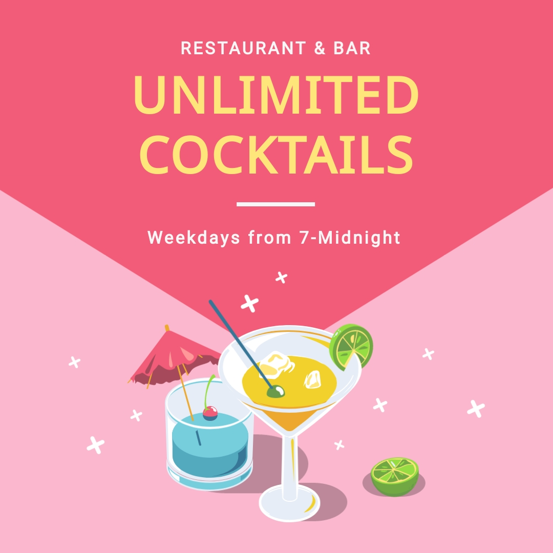 Unlimited Cocktails Square Template