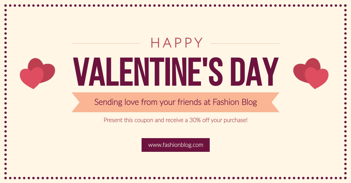Valentines Day Blog Wishes Facebook Ad  Template