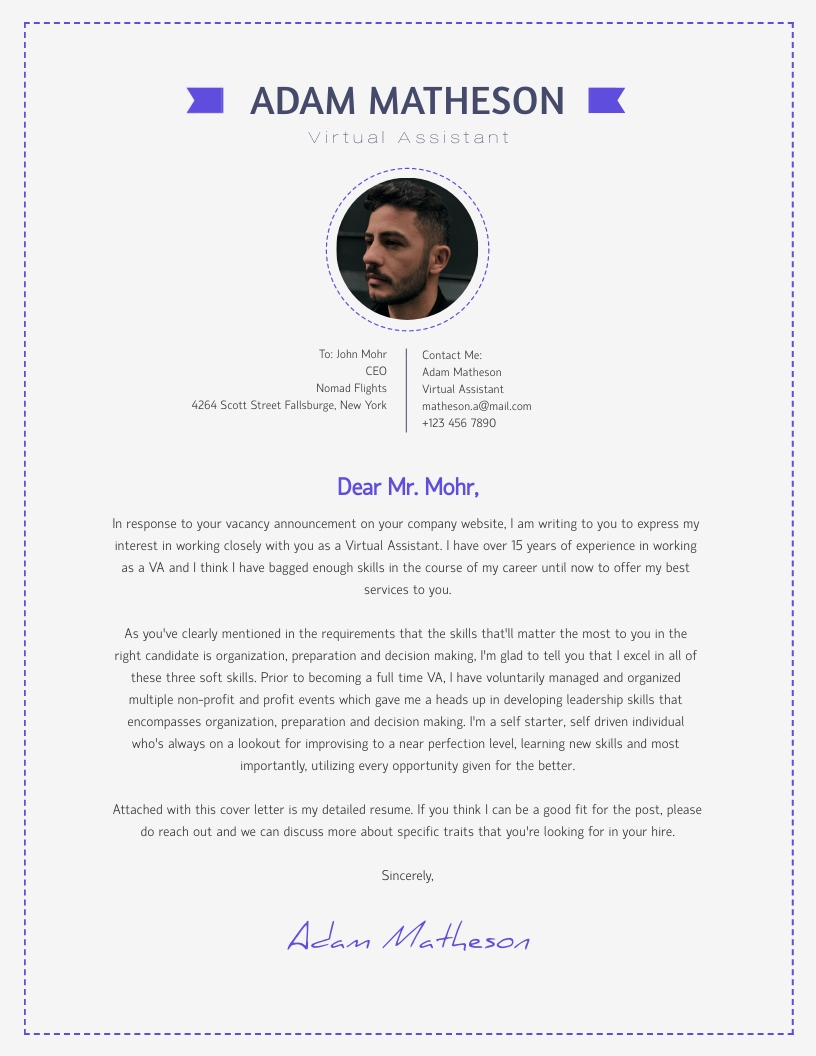Virtual Assistant - Cover Letter Template