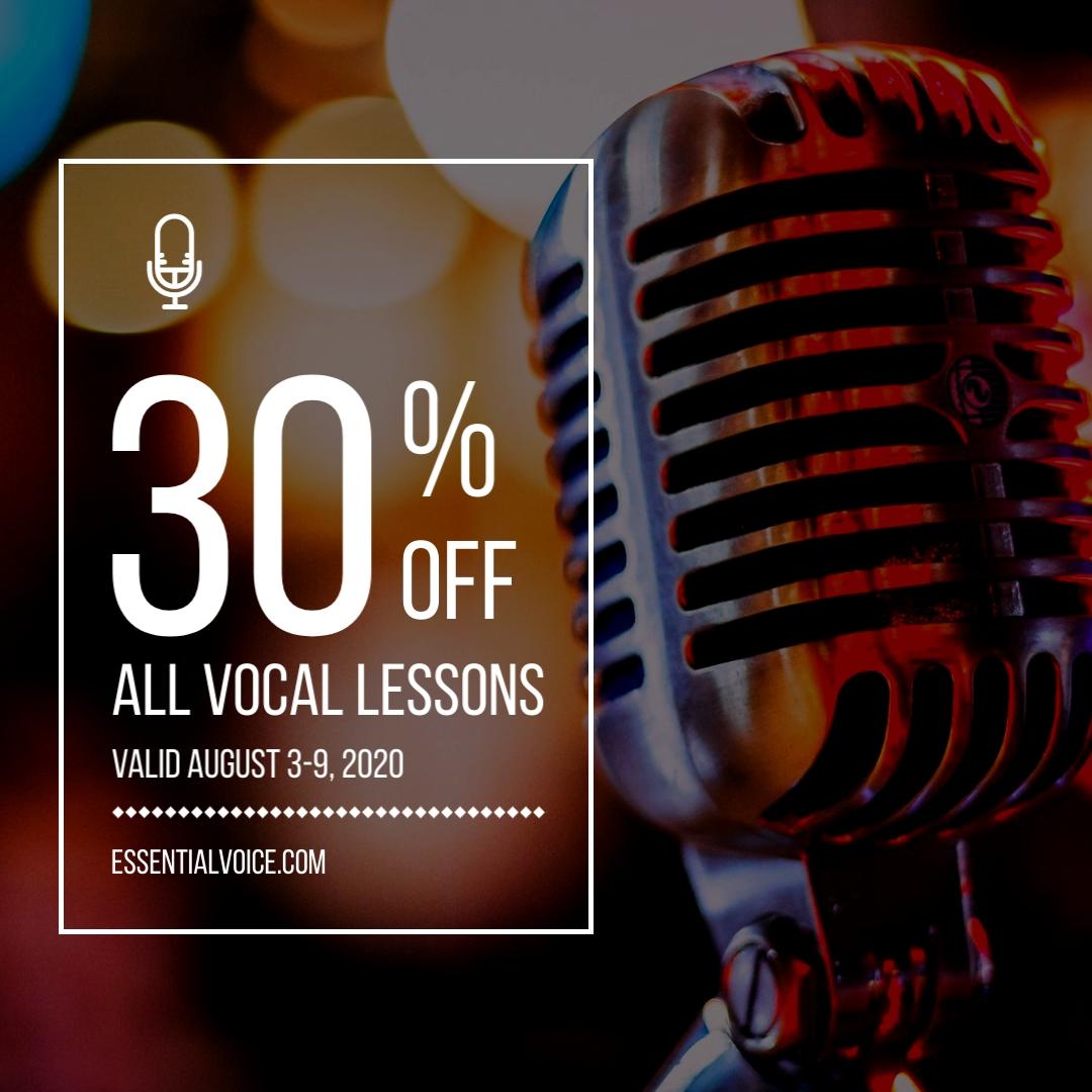Vocal Lesson Sale Animated Square Template