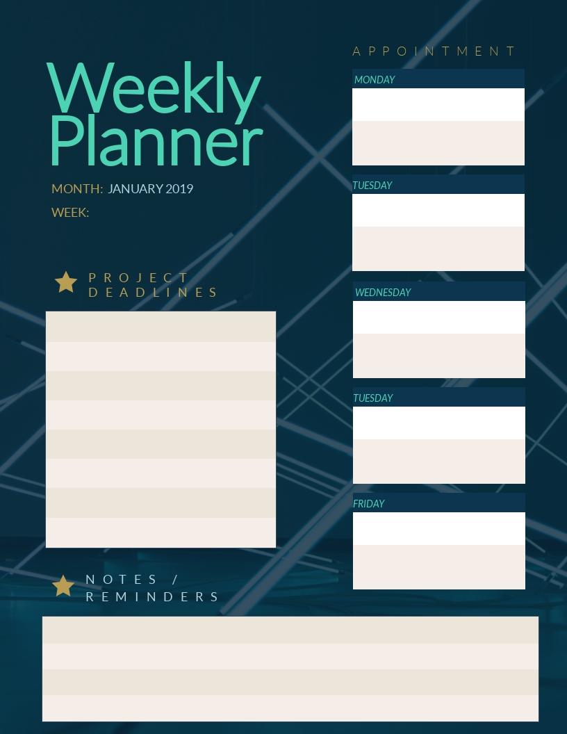 Weekly Planner - Schedule Template
