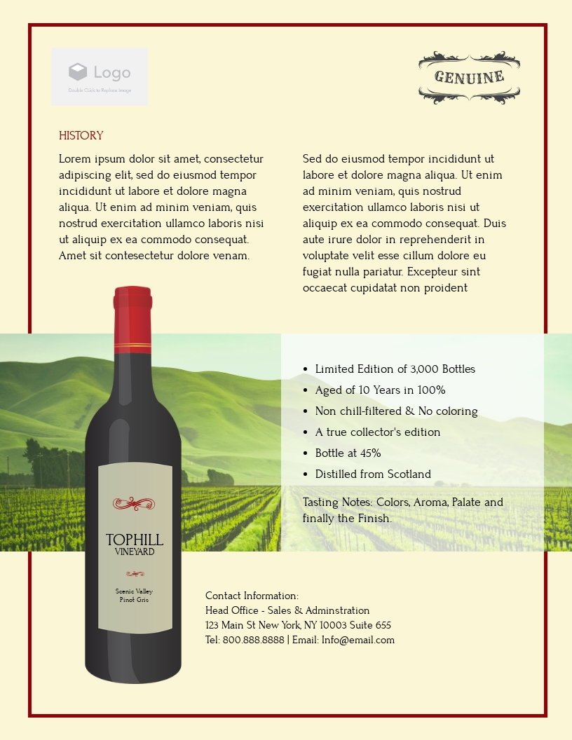 Wine - Product Sell Sheet Template