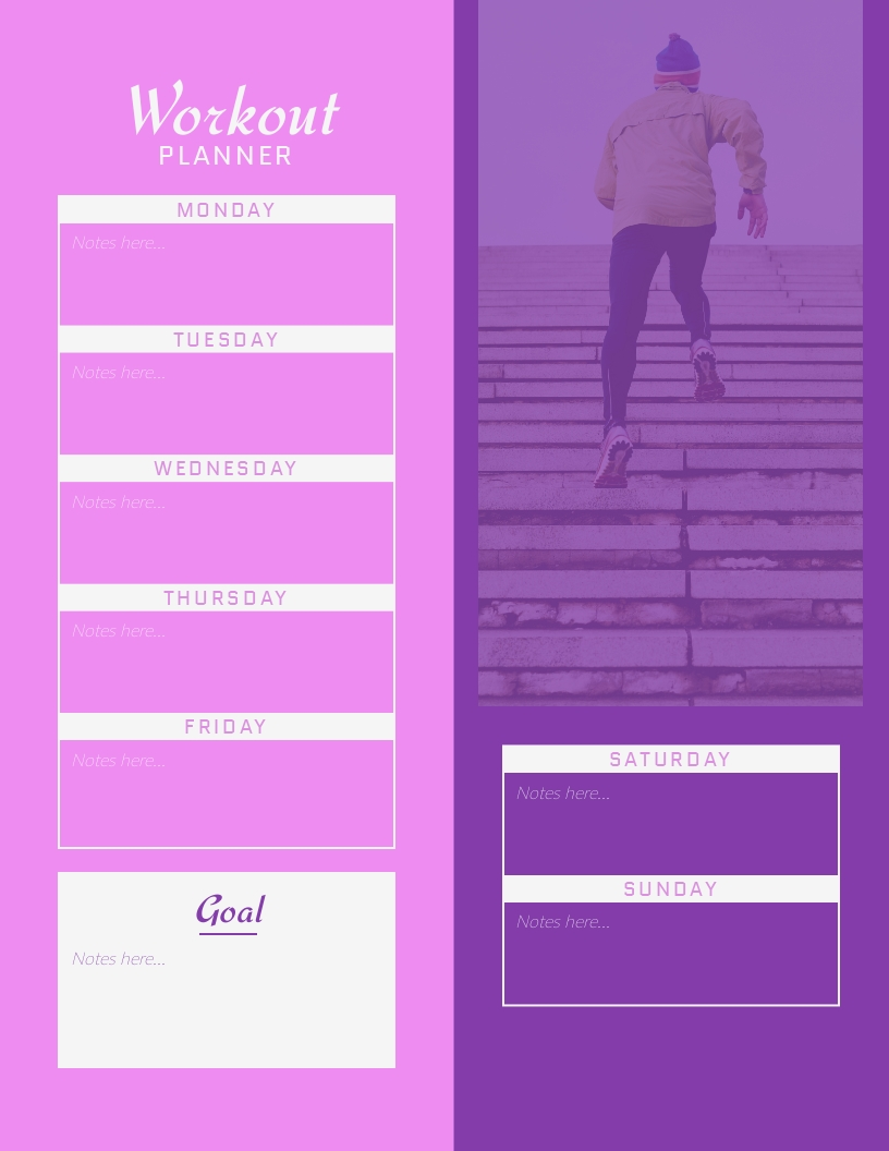 Workout Planner - Schedule Template
