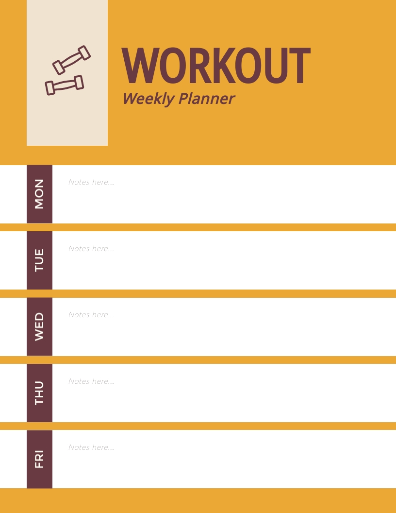 Workout Weekly Planner Template