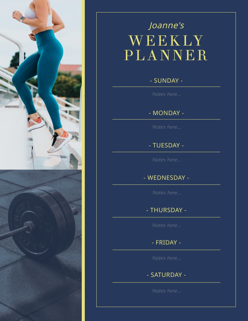 Workout and Fitness Weekly Planner Template