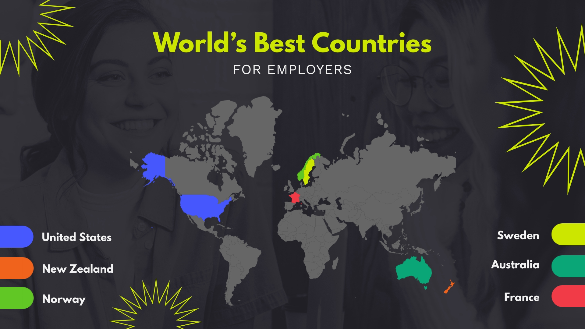 Worlds Best Countries Map Template