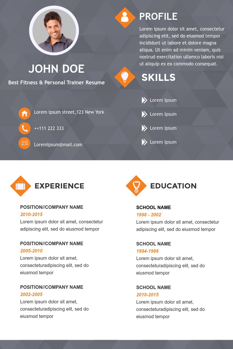 Fitness And Personal Trainer Resume