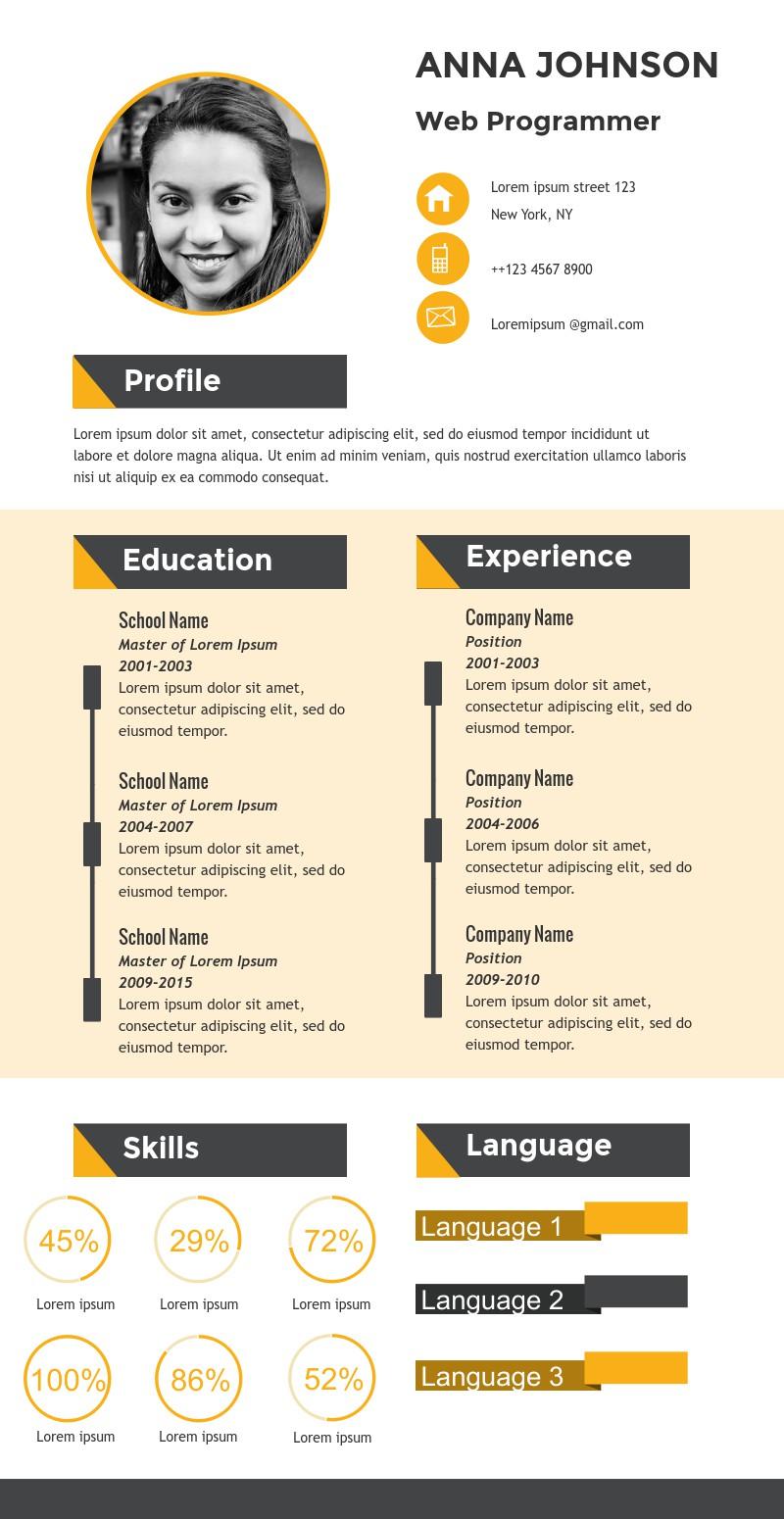 Web Programmer Resume Infographic Template Visme