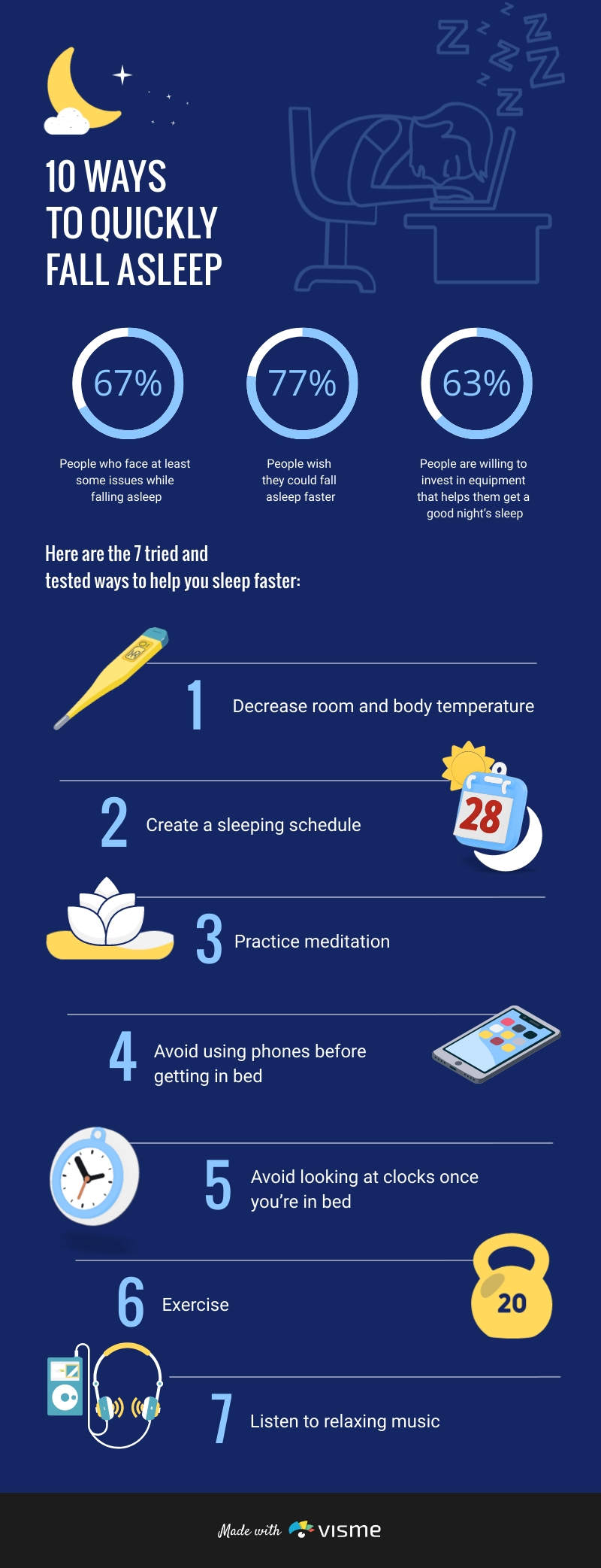 10 Ways to Quickly Fall Asleep - Infographic  Template