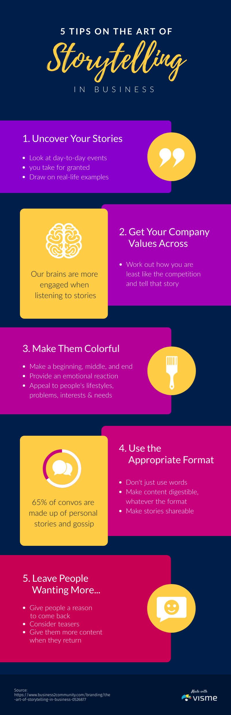 5 Storytelling Tips - Infographic Template