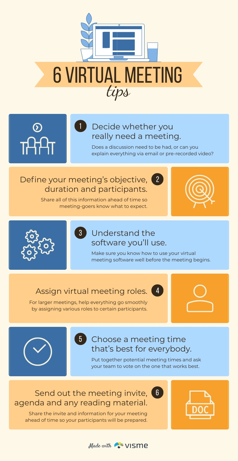 6 Virtual Meeting Tips - Infographic  Template