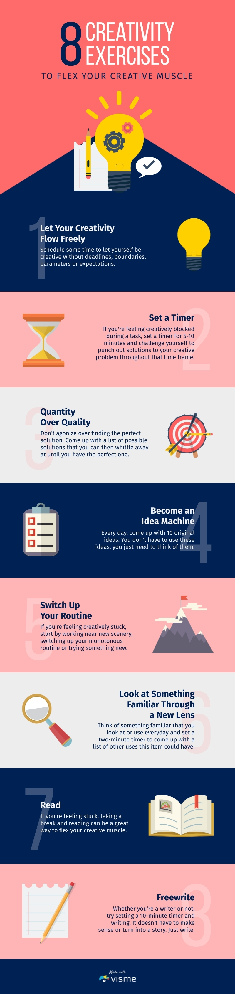 8 Creativity Exercises - Infographic  Template