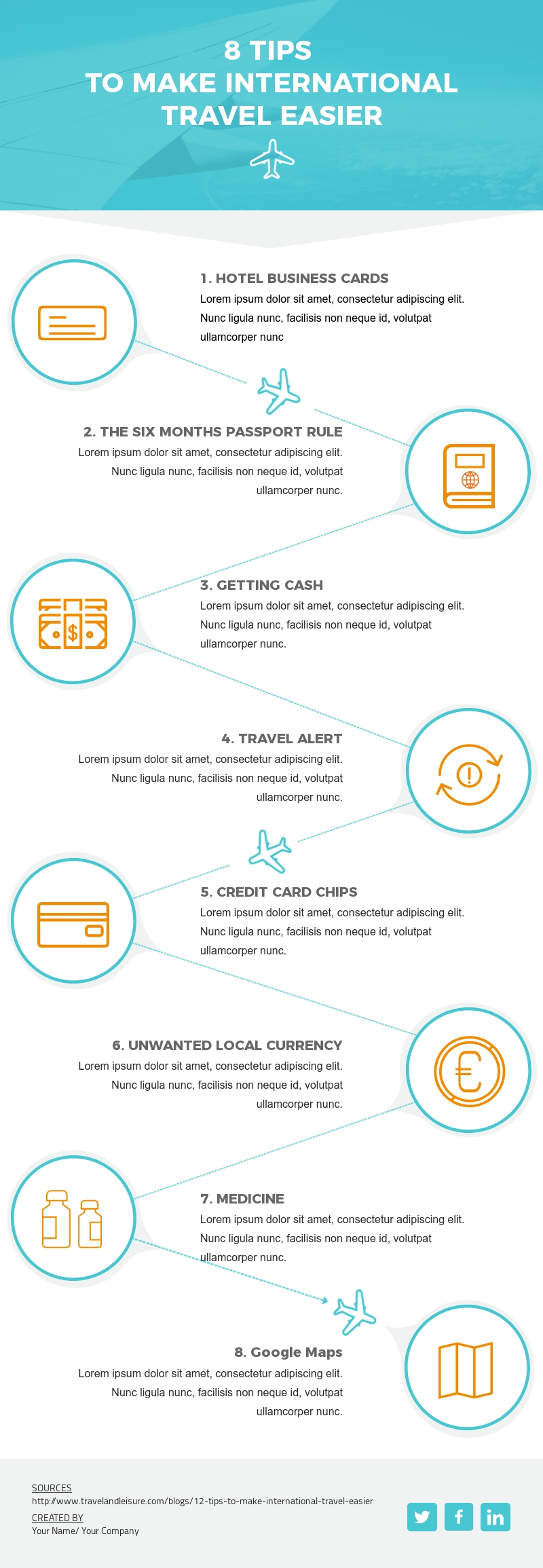 8 Tips to Make International Travel Easier - Infographic Template