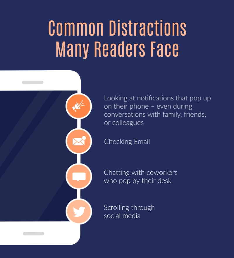 Common Distractions Readers Face - Infographic Template