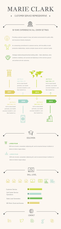 Customer Service Representative Resume (Color) - Infographic Template
