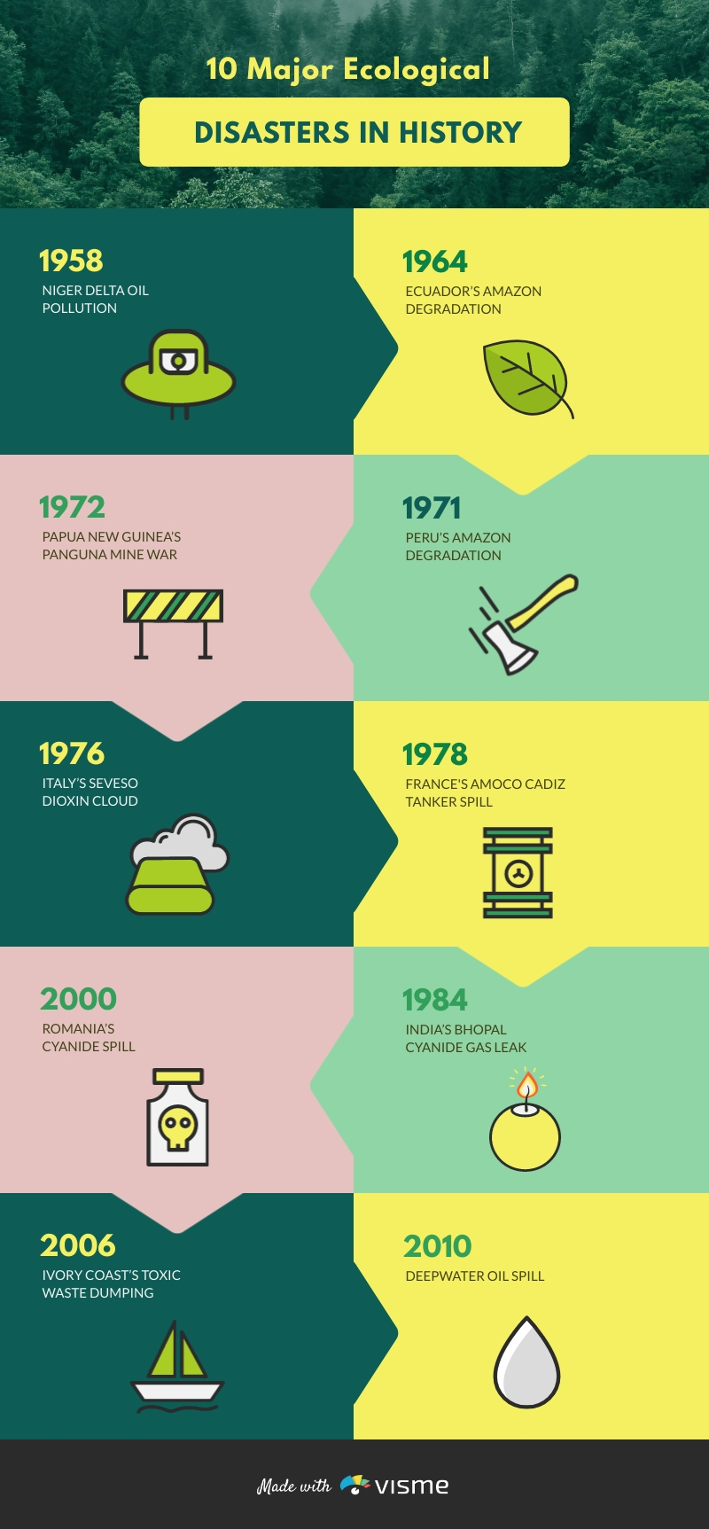 Ecological Disaster Timeline Infographic Template
