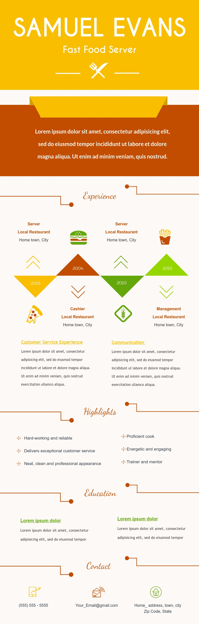 Bright Fast Food Server Resume - Infographic Template