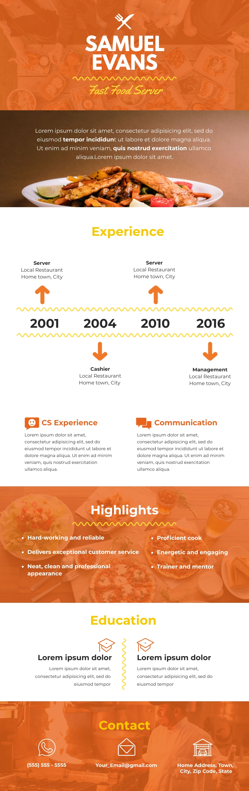 Light Fast Food Server Resume - Infographic Template