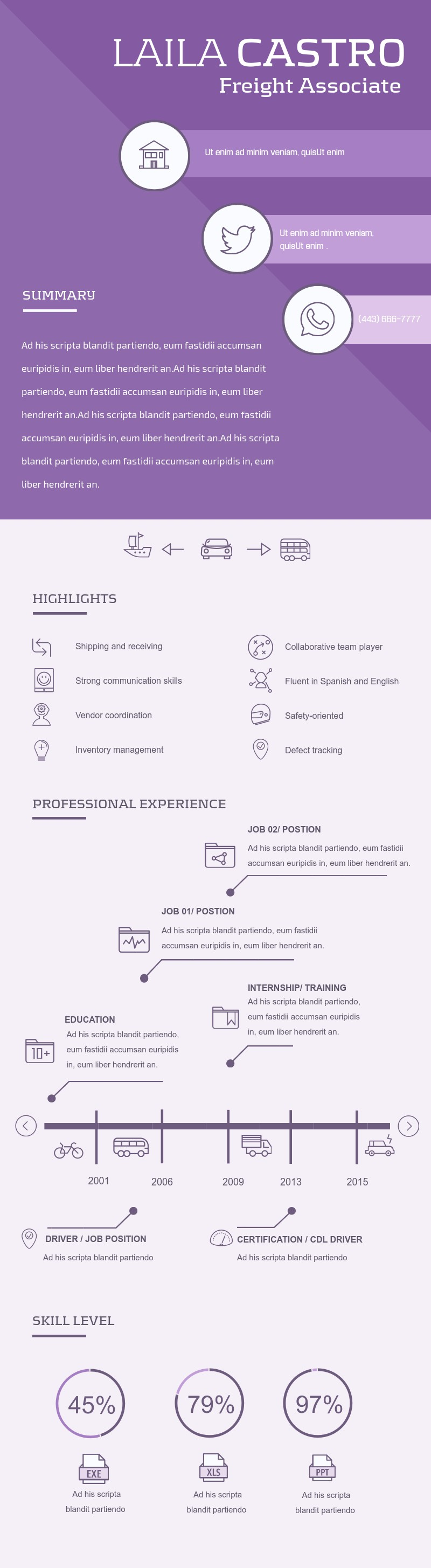 Freight Associate Resume - Infographic Template