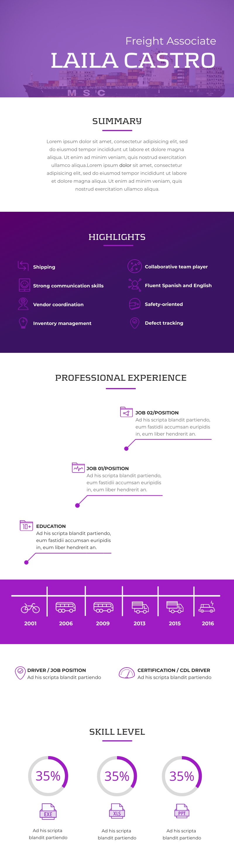Freight Associate Resume 2.0 - Infographic Template