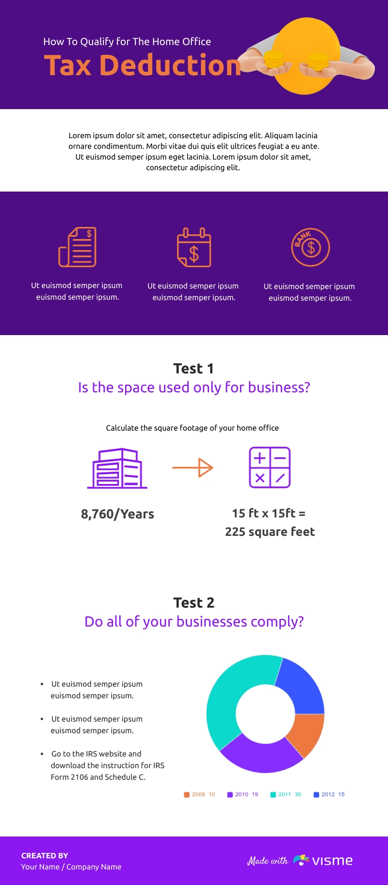 How To Qualify For The Home-Office Tax Deduction - Infographic Template