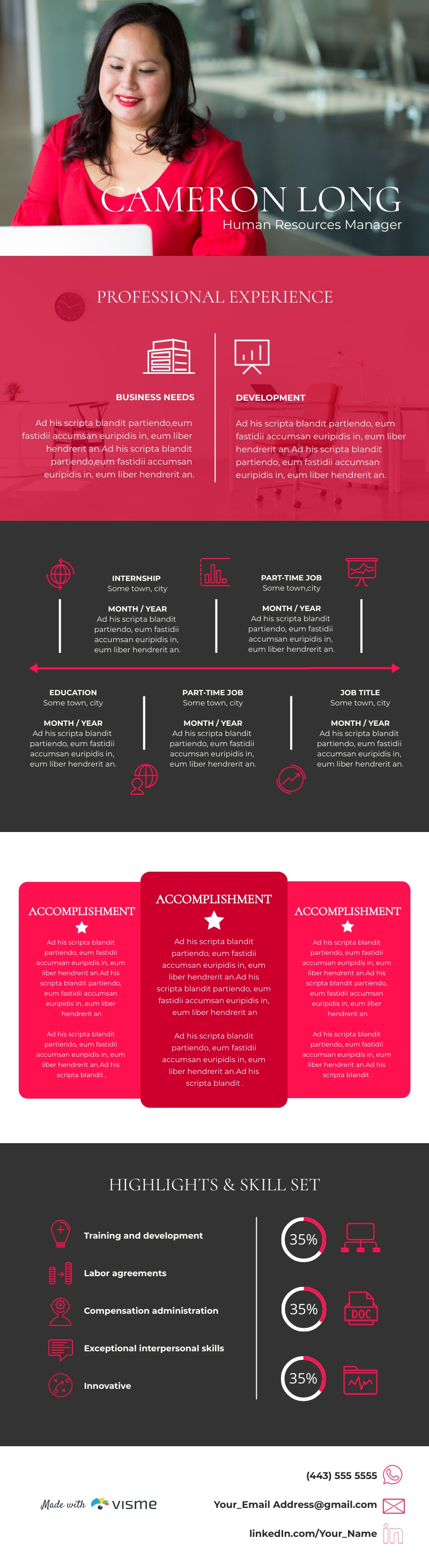 Human Resources Manager 1.0 Resume - Infographic Template