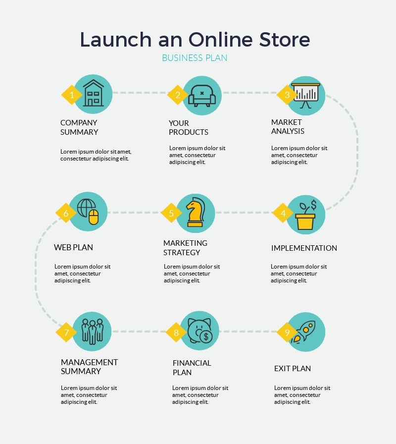 Launch an Online Store Timeline - Infographic Template