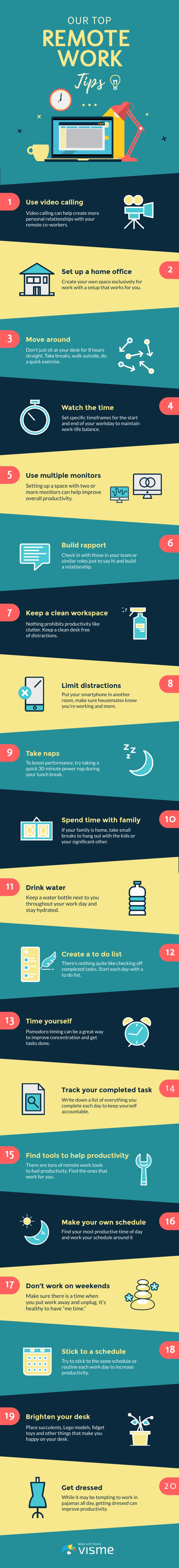 Our Top Remote Work Tips - Infographic Template