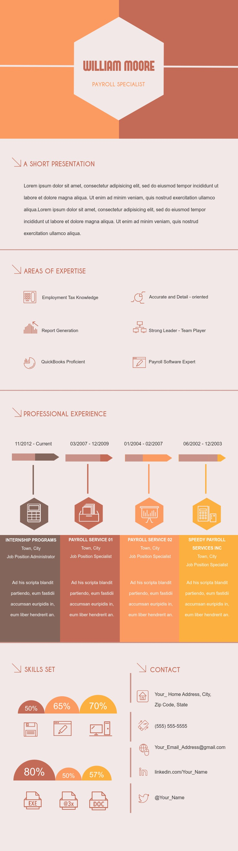 Payroll Specialist Resume (Color) Template