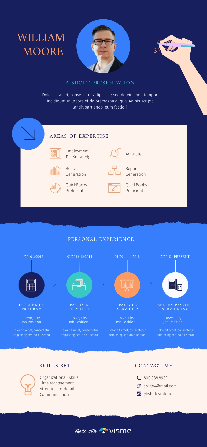 Payroll Specialist Resume - Infographic Template