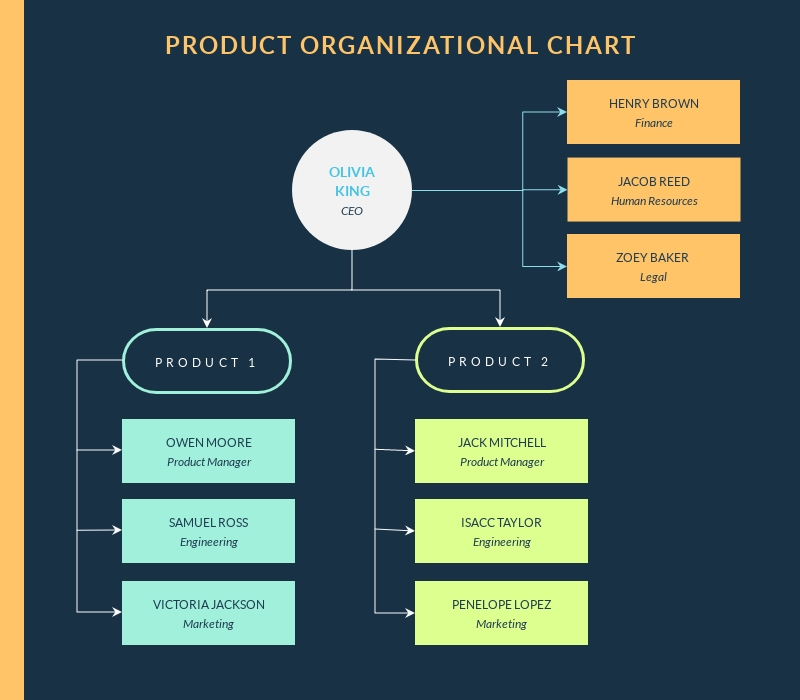 Product Organizational Chart - Infographic Template