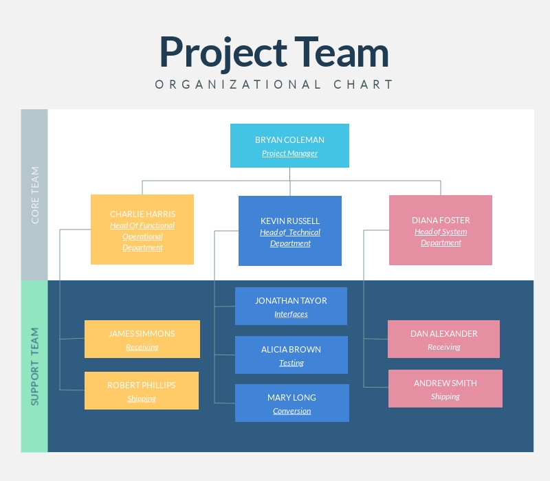Project Team Organizational Chart - Infographic Template