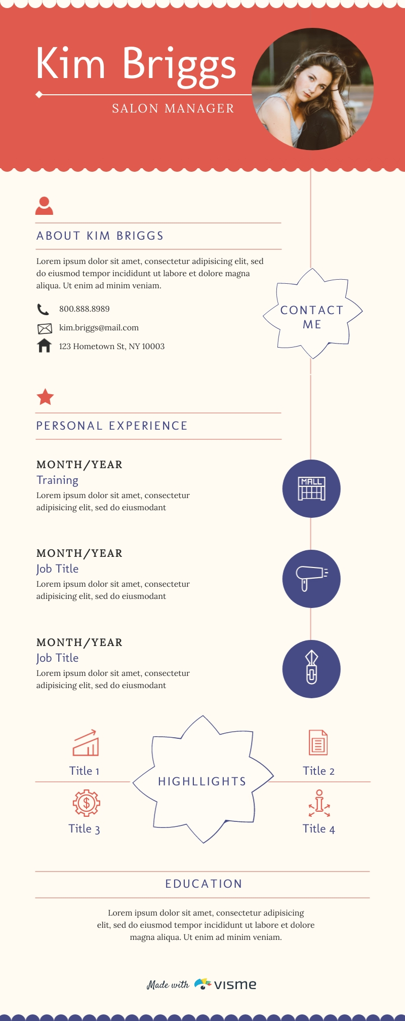 Salon, Spa and Fitness Resume - Infographic Template