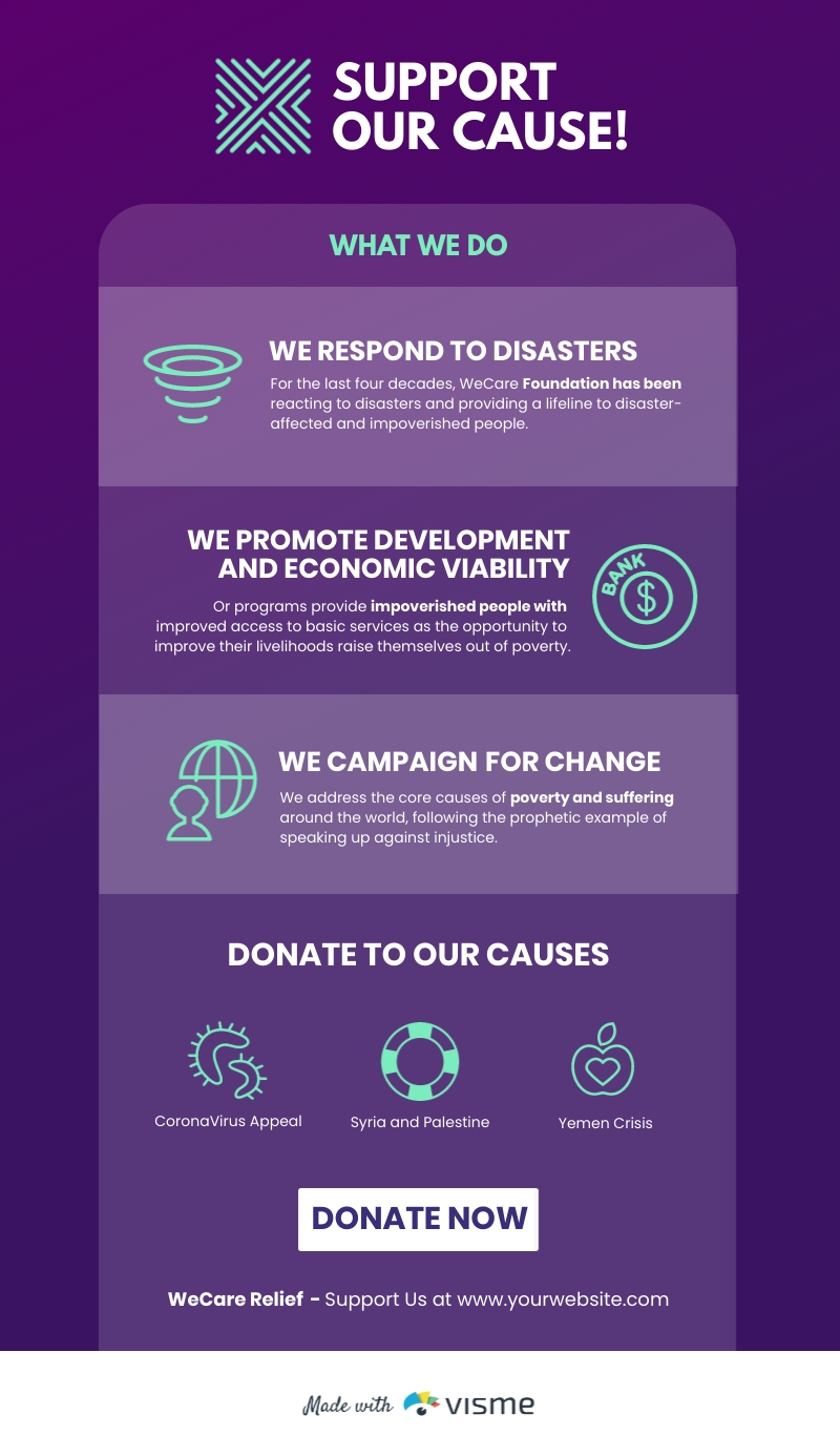 Support the Cause Nonprofit Infographic Template