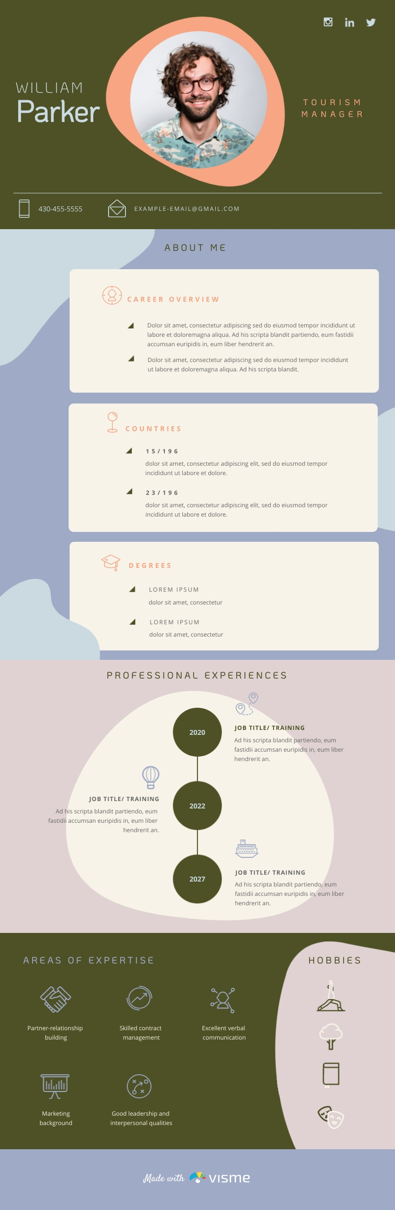 Tourism Manager Resume - Infographic Template