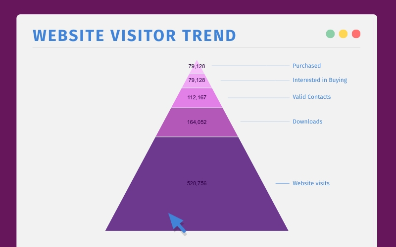 Website Visitor Trend Pyramid Chart - Infographic Template