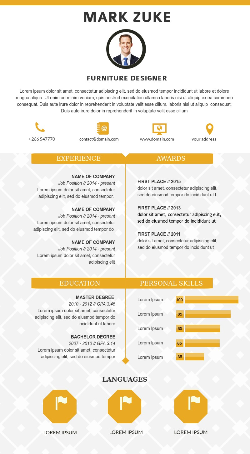 Furniture Designer Resume Template Visme