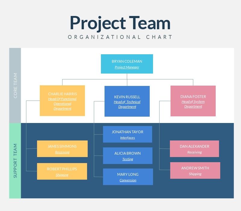 Project Team Organizational Chart Infographic Template Visme