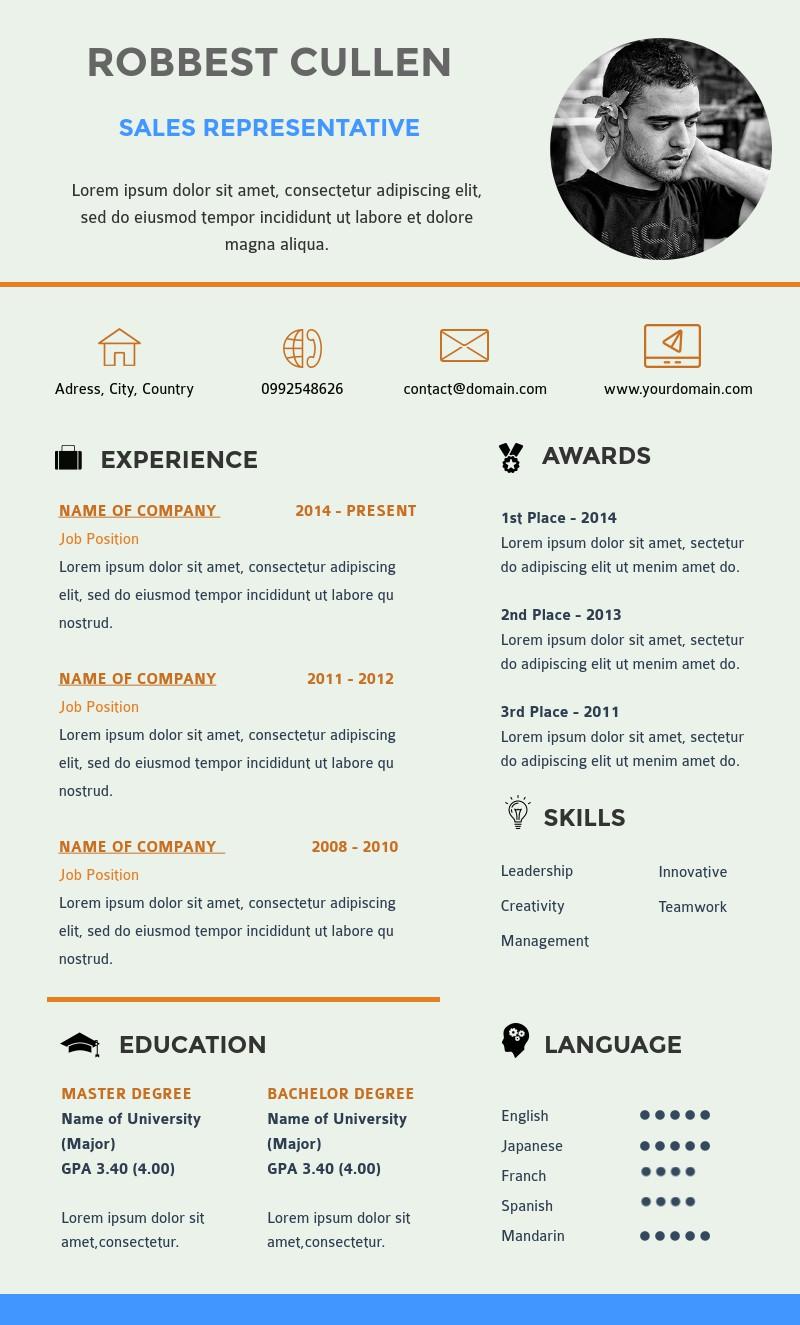sales representative resume template  visme